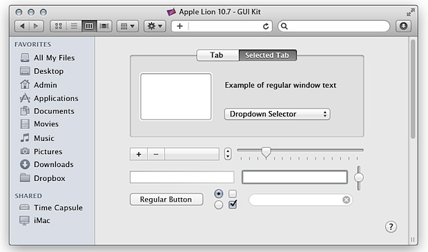 OS X Lion GUI Kit PSD for easy mockups