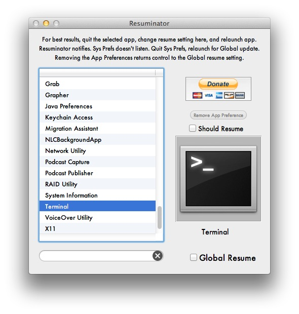 Resuminator manages OS X Lion App Resume feature