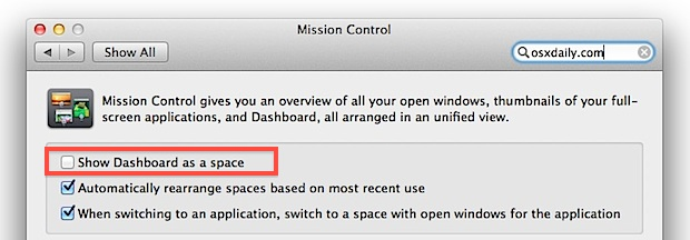 Don't show Dashboard as a Space in Mac OS X Lion