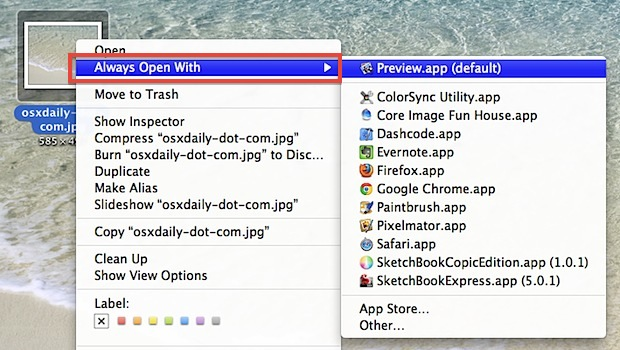 Set File Associations in Mac OS X to Always Open With an App