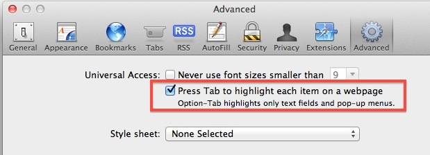 Enable Tab Key Navigation in Safari