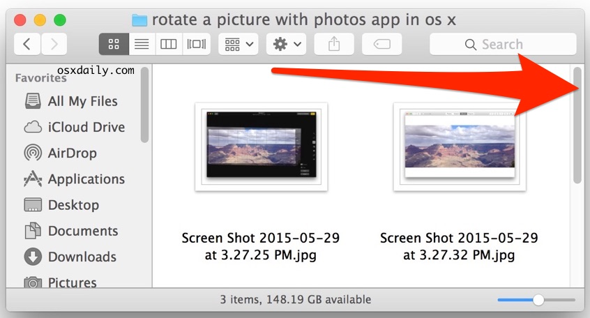 A visible scroll bar in Mac OS X