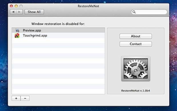 RestoreMeNot controls specific apps to restore or not in OS X Lion
