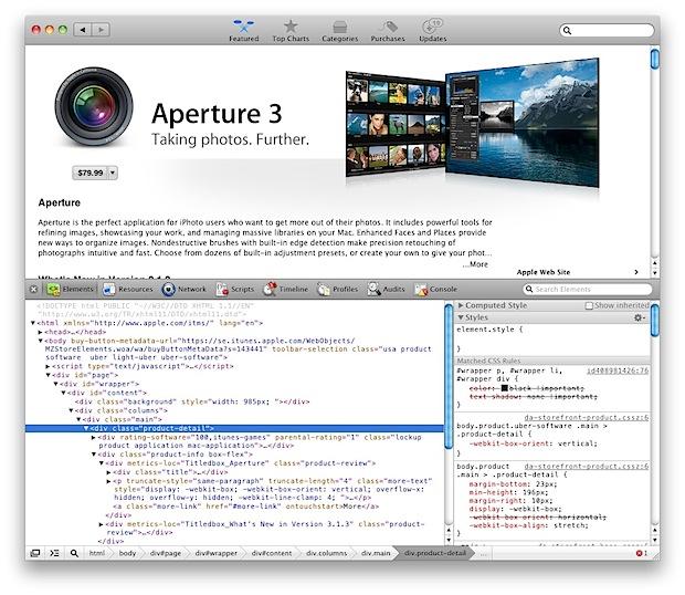 Mac App Store element inspector
