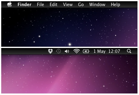 dark menu bar in Mac OS X