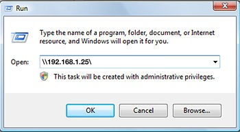 Connect to a Mac file share from Windows Run command