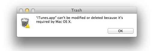 Delete iTunes from Mac OS X
