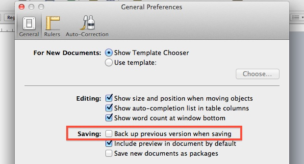 Disable backup of Pages files in the Finder