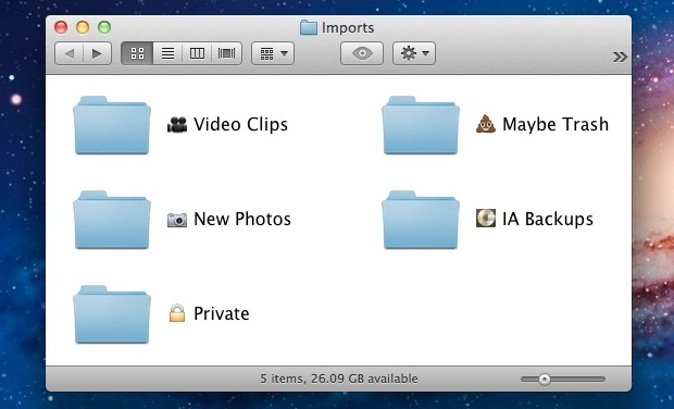 Emoji folders in Mac OS X