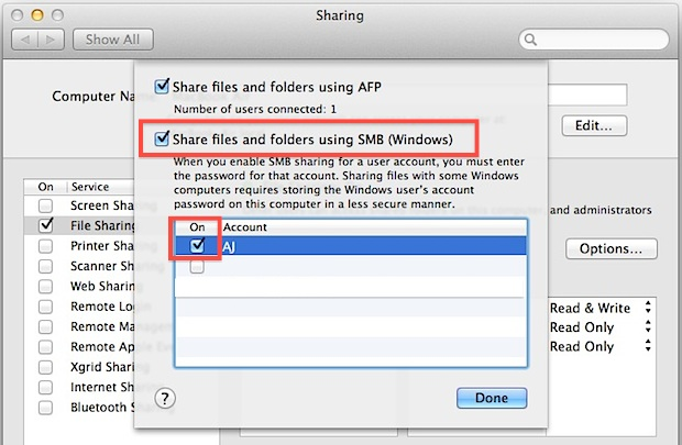 Enable Windows File Sharing in Mac OS X