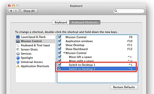 Fast switching between desktops in Mac OS X 10.7 with Control keys