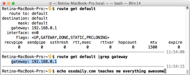 Find the default gateway address in Mac OS X