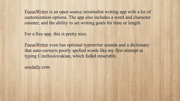 FocusWriting minimalist distraction free writing app