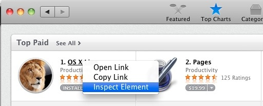 Inspect Element in the Mac App Store