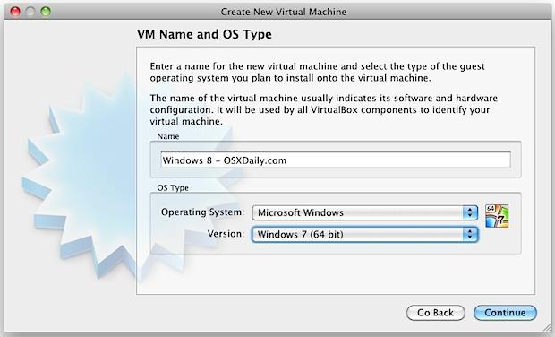 setup Windows 8 in VirtualBox