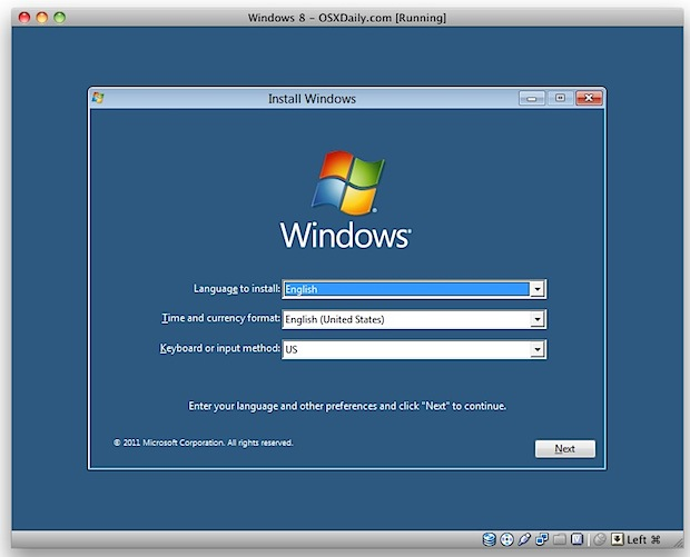 Installing Windows 8 in VirtualBox