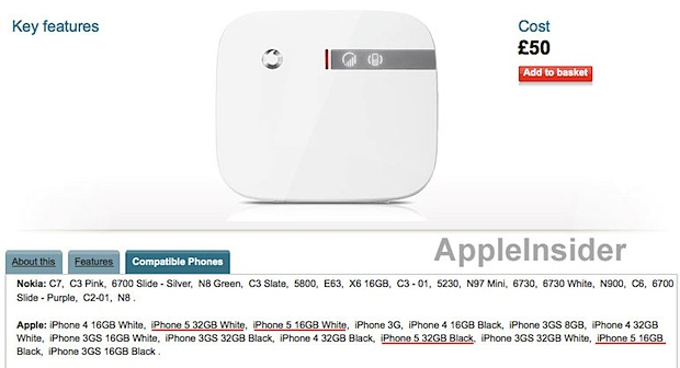 iPhone 5 references on a Vodafone product page