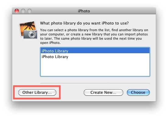 Move the iPhoto Library