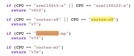 Cortex A9 CPU references in source