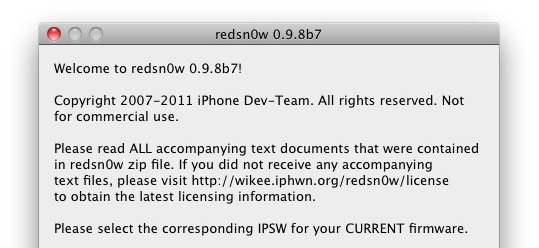 redsn0w 0.9.8 b7 supports iOS 4.3.5 and iOS 5 beta 6 & 7