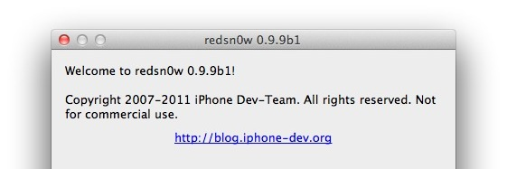Redsn0w 0.9.9b1 jailbreak utility