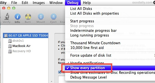 Show hidden partitions in Mac OS X with Disk Utility