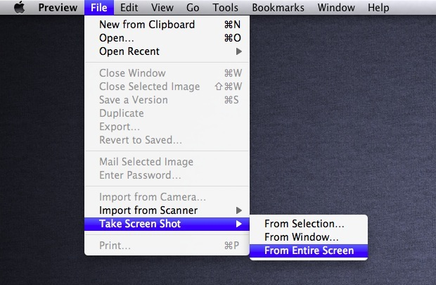 Capture Screenshots with Preview in OS X