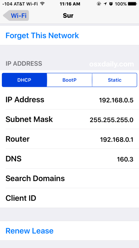 Find Wi-FI IP Address on iPhone or iPad