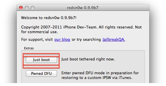 Boot tethered with redsn0w
