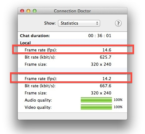 Check Frame Rate and video Stats in iChat