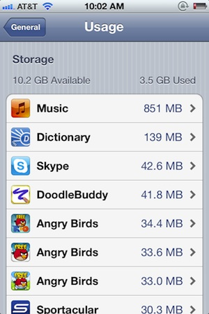 Check how much space an app uses in iOS 5