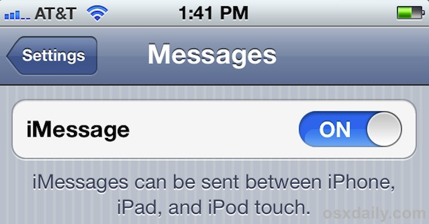 Enable iMessage in iOS 5 on iPhone, iPad, or iPod touch
