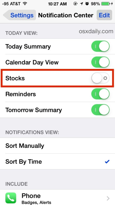 Hide Stocks from Notifications Center Completely