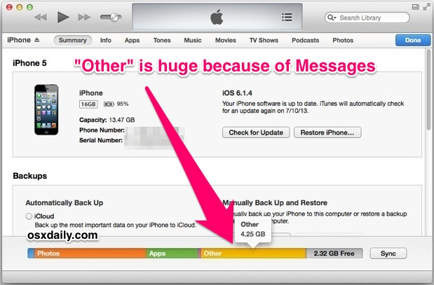 Huge other space in iTunes because of iPhone Messages