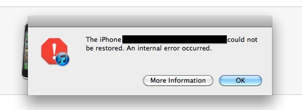 Internal error during iOS update