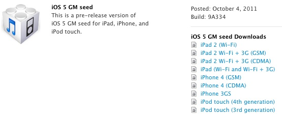 iOS 5 GM released