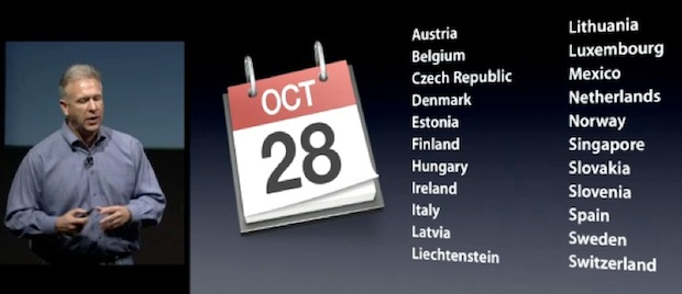 iPhone 4S international availability list on October 28