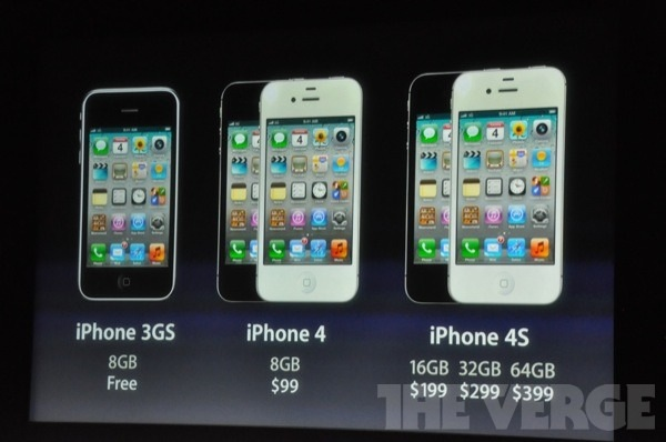 iPhone 4S pricing alongside iPhone 4 and iPhone 3GS