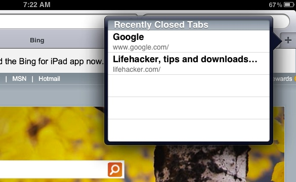 re open closed browser windows in Safari for iPad