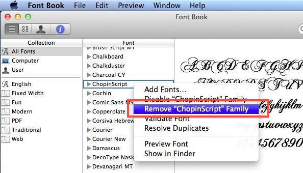 remove Fonts from Mac OS X
