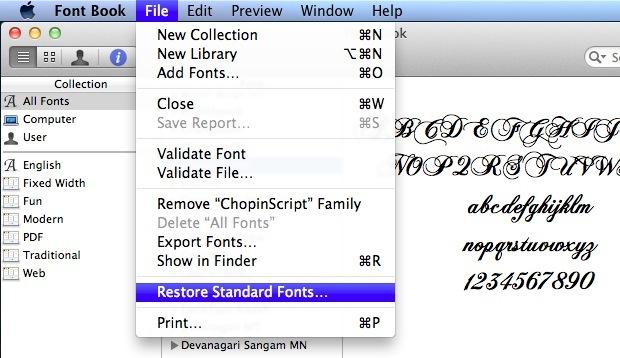 Restore standard Mac fonts