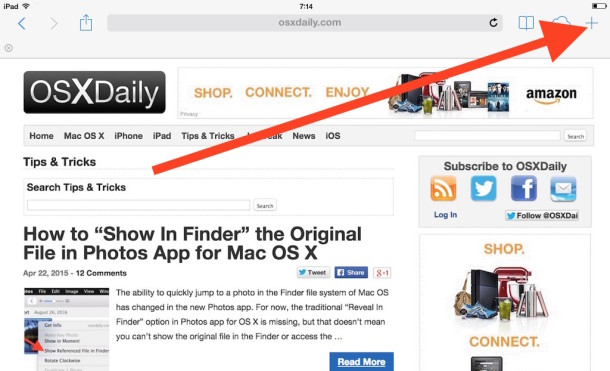 Re Open Closed Browser Windows in Safari Tab button on iPad