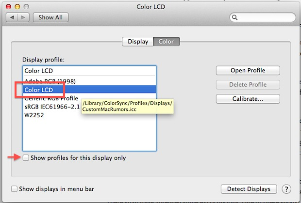 Select MacBook Air custom display profile