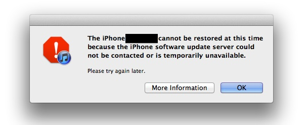 Server unavailable error during iOS 5 update