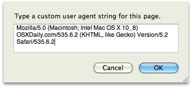 Spoof user agent Safari