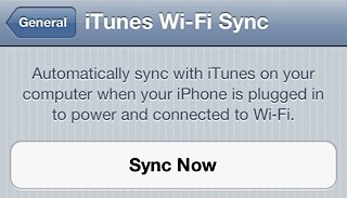 Start Wi-Fi Sync from iPhone