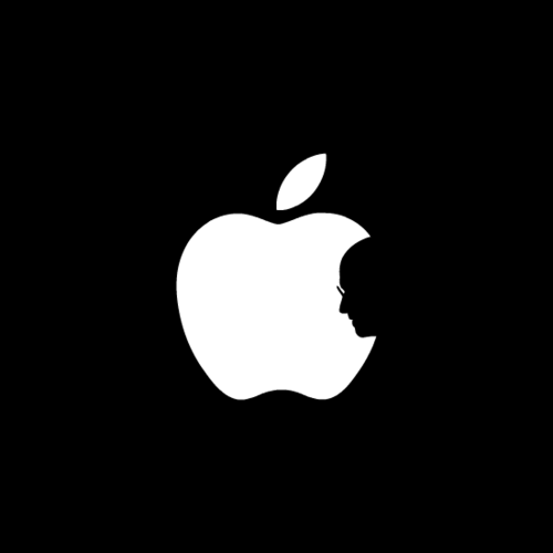 Steve Jobs profile in the Apple logo
