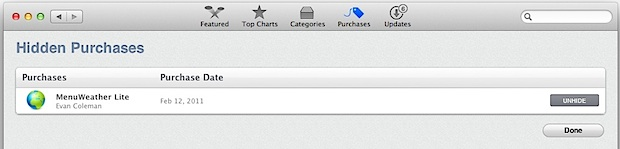 Unhide hidden purchases in the App Store