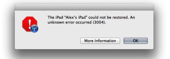 Unknown error occurred during iOS 5 update
