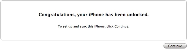 unlocked iPhone 4S message in iTunes